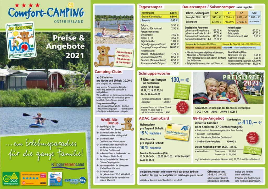 Camping Preisliste